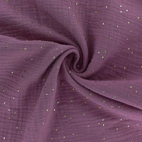 Tissu double gaze de coton pois doré - figue x 10cm