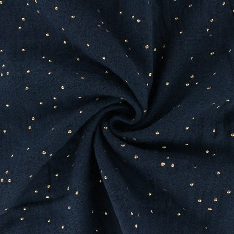 Double cotton gauze fabric - Navy blue Golden Dots x 10cm
