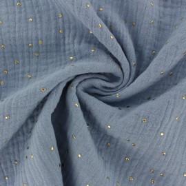 Tissu double gaze de coton pois doré - bleu niagara x 10cm