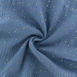 Double cotton gauze fabric - Ocean blue Golden Dots x 10cm