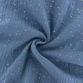 Tissu double gaze de coton pois doré - bleu houle x 10cm