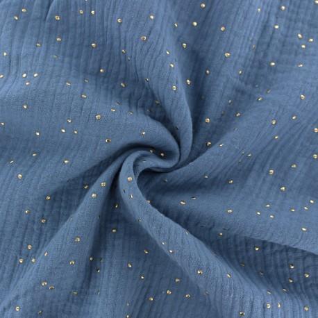 Double cotton gauze fabric - Ocean blue Golden Dots x 10cm