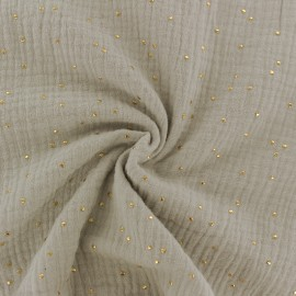 Double cotton gauze fabric - linen Beige Golden Dots x 10cm