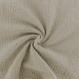 Tissu double gaze de coton pois doré - lin x 10cm