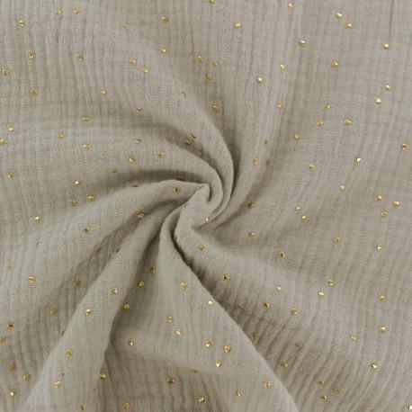 Double cotton gauze fabric - linen Beige Golden Dots x 10cm