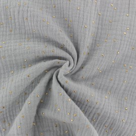 Double cotton gauze fabric - Smoke Golden Dots x 10cm