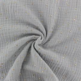 Tissu double gaze de coton pois doré - Fumée x 10cm