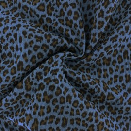 Tissu double gaze de coton Léopard - bleu houle x 10cm