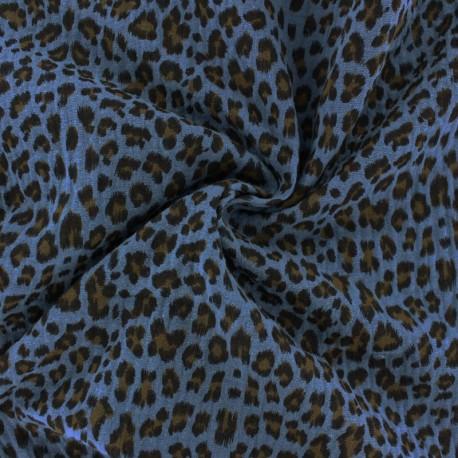 Double cotton gauze fabric - ocean blue Leopard x 10cm