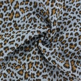 Tissu double gaze de coton Léopard - bleu niagara x 10cm