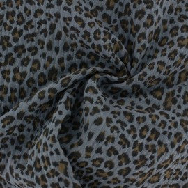Double cotton gauze fabric - grey Leopard x 10cm