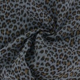 Tissu double gaze de coton Léopard - gris x 10cm