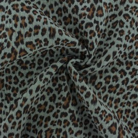 Double cotton gauze fabric - eucalyptus Leopard x 10cm