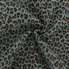 Tissu double gaze de coton Léopard - eucalyptus x 10cm