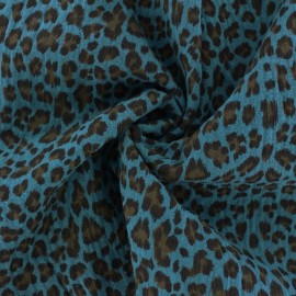 Double cotton gauze fabric - Peacock blue Leopard x 10cm