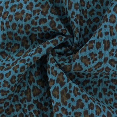 Tissu double gaze de coton Léopard - bleu Paon x 10cm