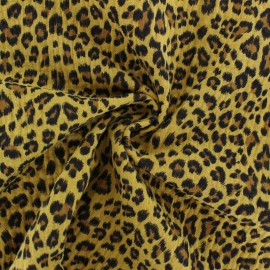 Double cotton gauze fabric - mustard Leopard x 10cm