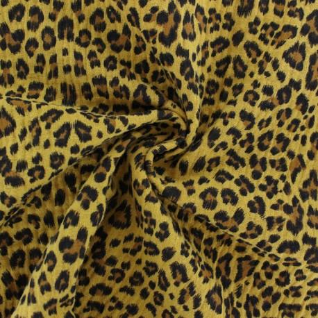Tissu double gaze de coton Léopard - jaune moutarde x 10cm