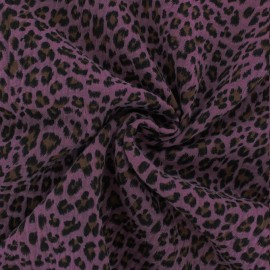 Tissu double gaze de coton Léopard - figue x 10cm