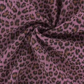 Double cotton gauze fabric - Pink Leopard x 10cm