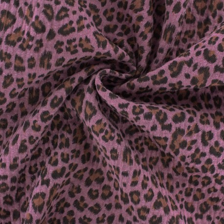 Tissu double gaze de coton Léopard - rose x 10cm