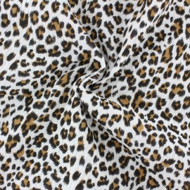 Tissu double gaze de coton Léopard - écru x 10cm
