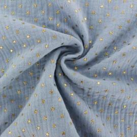 Tissu double gaze de coton étoile dorée - bleu houle x 10cm