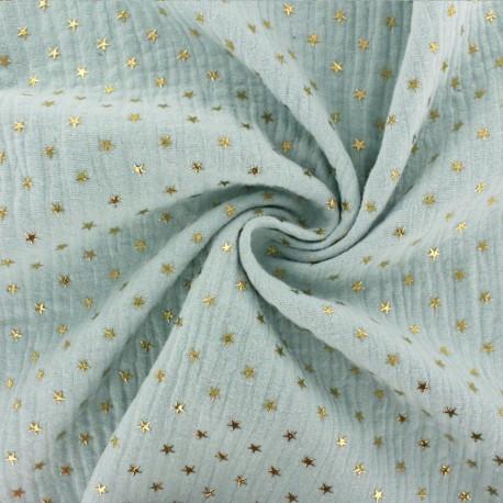Tissu double gaze de coton étoile dorée - opaline x 10cm