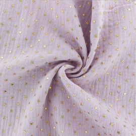 Double cotton gauze fabric - Rose water Golden star x 10cm