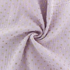 Tissu double gaze de coton étoile dorée - eau de rose x 10cm
