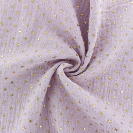 Double cotton gauze fabric - Rose water Golden star x 10cm