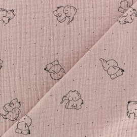 Double gauze Cotton fabric - Rose water elephant x 10cm