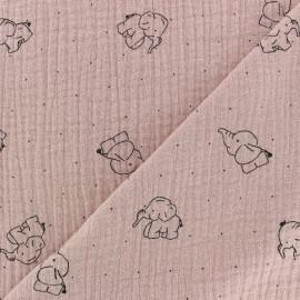Tissu double gaze de coton Elephant - Eau de rose x 10cm