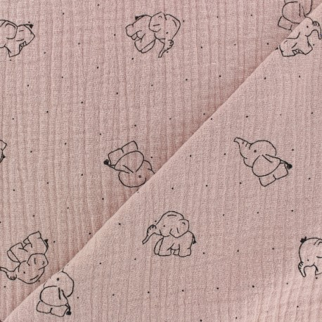 Double gauze Cotton fabric - Rose water elephant x 10cm