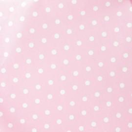 Tissu enduit coton petits pois blancs fond rose x 10cm