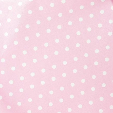 Small dots Coated Cotton Fabric - white/pink backgroundx 10cm