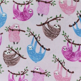 Timeless Treasures cotton fabric - Pink Sloth x 10cm