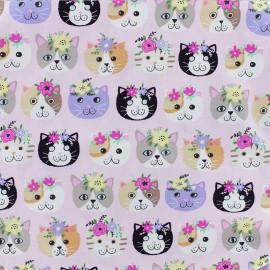 Timeless Treasures cotton fabric - Pink Petal Purrfect x 10cm