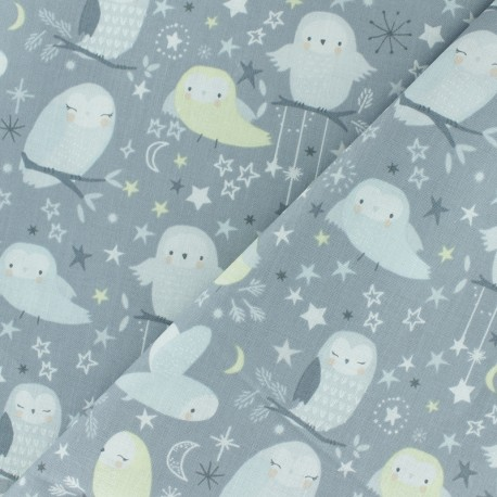 Tissu coton Timeless Treasures - Owl - gris x 10cm