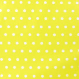 Tissu enduit coton petits pois blancs fond jaune x 10cm