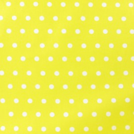 Small dots Coated Cotton Fabric - white/yellow background x 10cm