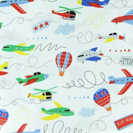 Timeless Treasures cotton fabric - white Planes x 10cm