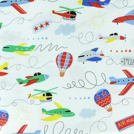 Tissu coton Timeless Treasures - Planes - blanc x 10cm