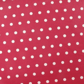 Tissu enduit coton petits pois blancs fond pourpre x 10cm