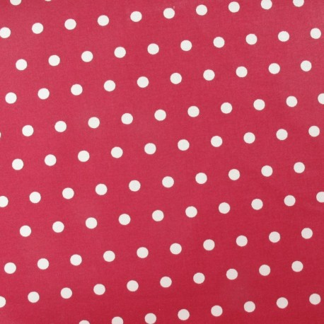 Fabric enduit coton petits pois blancs fond pourpre x 10cm