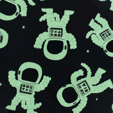 PHOSPHORESCENT cotton fabric - Black Astrocat x 10cm