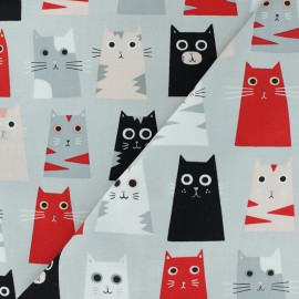 Timeless Treasures cotton fabric - grey cats x 10cm