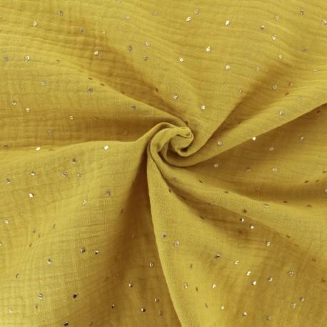 Double cotton gauze fabric - Mustard Golden Dots x 10cm