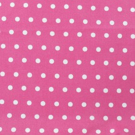 Small dots Coated Cotton Fabric - white/fuchsia background x 10cm