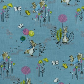 Tissu coton Pierre Lapin® - Blue Dandelion x 10cm